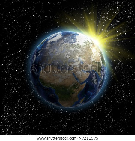 Sun, stars and planet Earth in the space. 3D image.