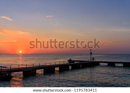 Sun sunrise Mediterranean jetty  #1195783411