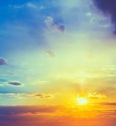 Sun, sunset, sunrise. Colorful toned instant photo