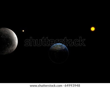 Sun system whit close look at moon and Earth