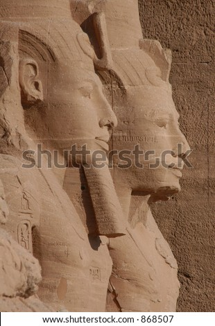 Sun Temple of Abu Simbel decorated by 20-metre height colossi of Ramses II near Aswan, Egypt