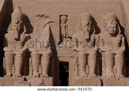 Sun Temple of Abu Simbel decorated by 20-metre height colossi of Ramses II near Aswan, Egypt - stock photo