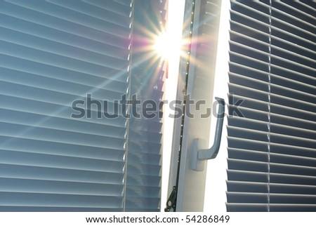 Sun through the window. Element of design.