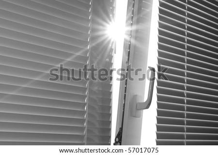 Sun through the window. Element of design.