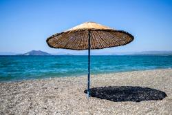 Sun umbrella on the beach in Turkey.
