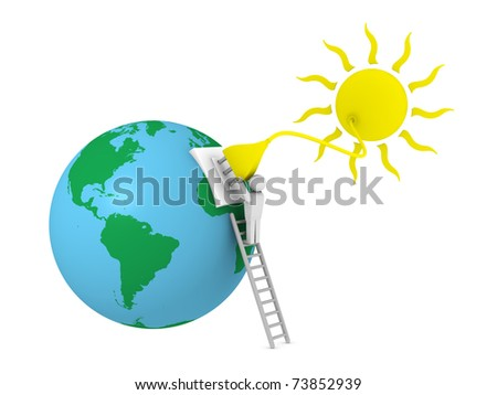 sun with a plug that supplies power to the earth planet