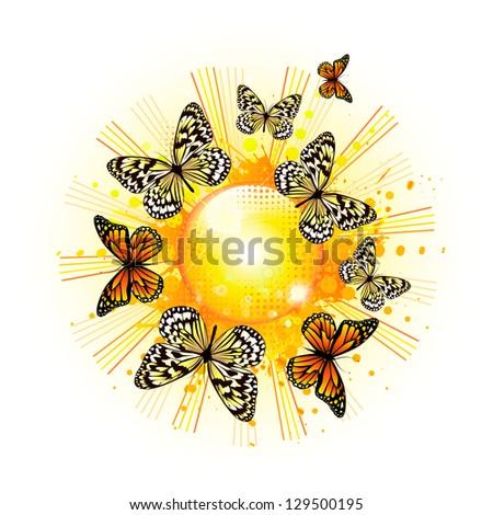 Sun with butterflies. Raster