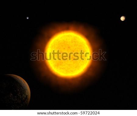 Sun with Mars, Earth and Venus