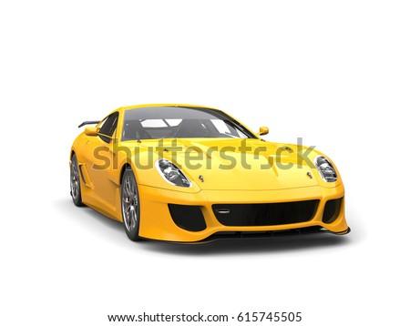 Sun yellow urban sports car - studio shot - 3D Render