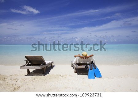 Sunbathing on Maldives Beach