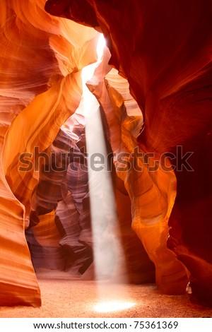 Sunbeam in Upper Antelope Canyon, Arizona, USA - stock photo