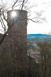 Sunbeam through the window in old castle