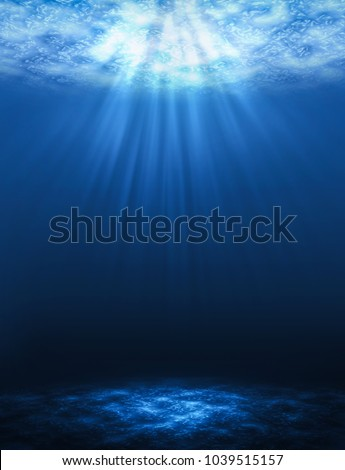 Sunbeam vertical Abstract underwater backgrounds in the sea. Stock photo ©