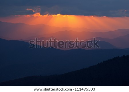 Sunbeams and Great Smoky Mountains near sunset from Clingman's Dome, North Carolina, USA