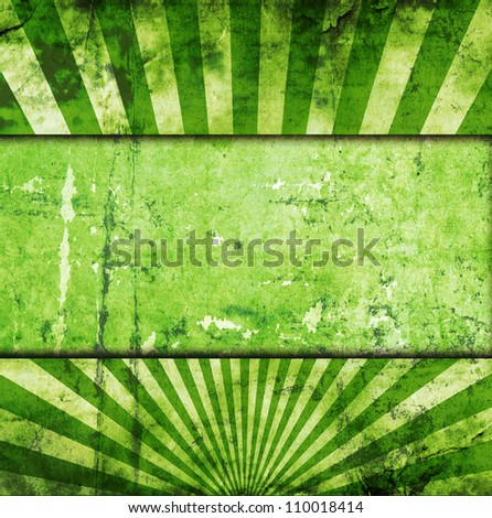sunbeams green grunge background with place for text
