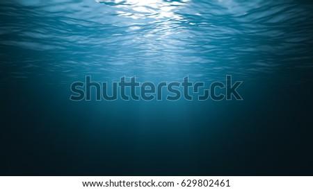 Sunbeams in the blue water 3D render