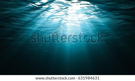 Stock Photo Sunbeams in the blue water 3D render