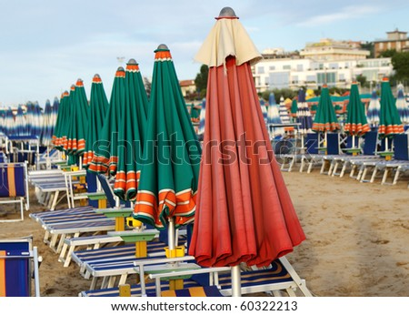 Sunbeds on the Beach, Cattolica, Italy