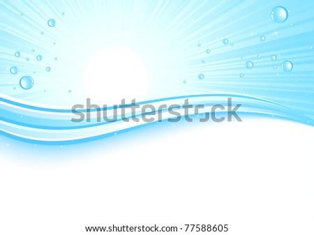 Sunburst background with drops, illustration