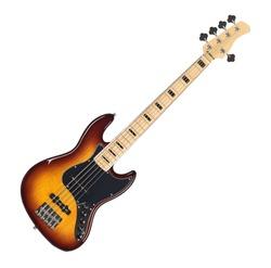 Sunburst Finish Electric Bass Guitar Isolated on White Background