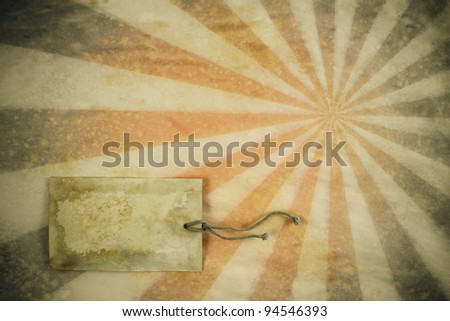 Sunburst retro grunge background with price tag