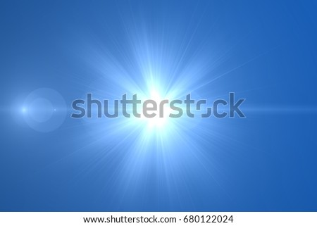 sunburst with Lens flare light over black background. Easy to add overlay or screen filter over photo #680122024