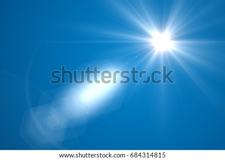 sunburst with Lens flare light over black background. Easy to add overlay or screen filter over photo  #684314815