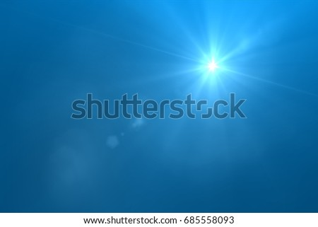 sunburst with Lens flare light over black background. Easy to add overlay or screen filter over photo  #685558093
