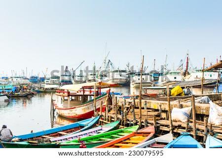 sunda kelapa old harbour  with...