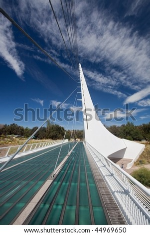 Sundial Bridge is a cantilever spar cable-stayed bridge for bicycles and pedestrians that spans the Sacramento River in Redding, California