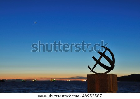 Sundial by the beach, English Bay, Vancouver