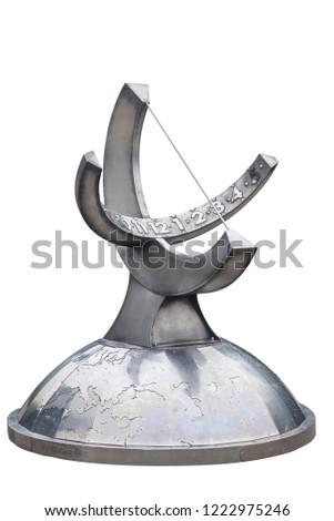 Sundial isolated on white background. Sundial isolated on white background #1222975246