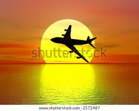 sundown and plane silhouette (see more in my portfolio)