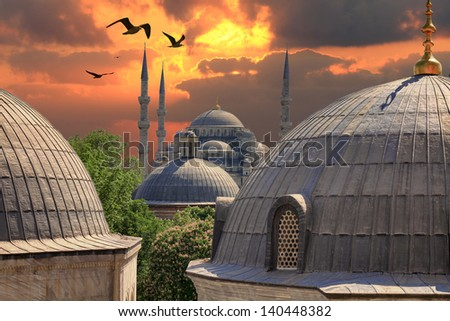 Sundown in Istanbul. Blue Mosque from the window of Hagia Sophia