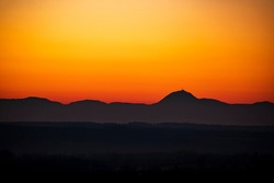 Sundown on mountain, Auvergne, France.