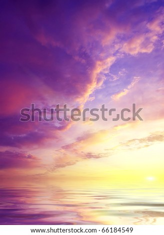 Sundown on sea with bright colour and glow sun #66184549