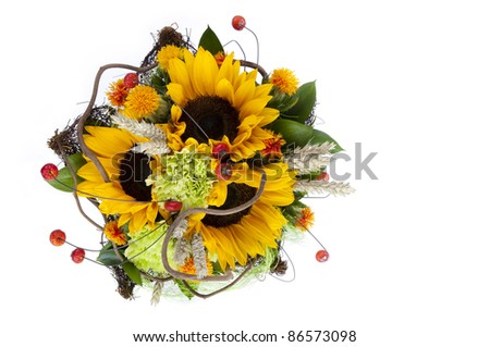 Sunflower Bouquet Isolated On White