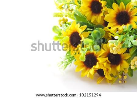 sunflower bouquet on white background