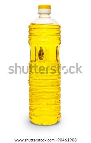 sunflower coocking oil vegetable in a plastic bottle isolated on white background