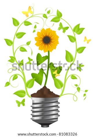 Sunflower in the light bulb.