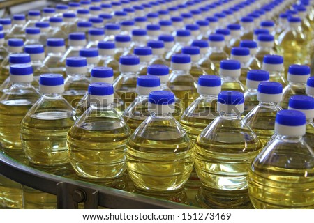Sunflower Oil in a Bottle stock photo