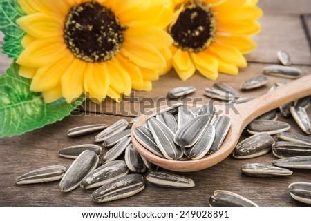 Sunflower seed on wooden spoon