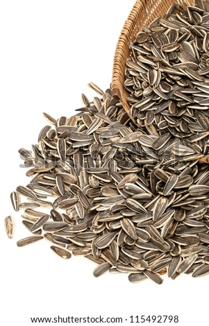 Sunflower seeds isolated on white background