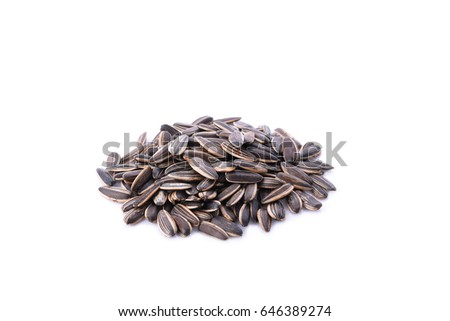 Sunflower seeds isolated on white background #646389274