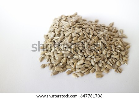 Sunflower seeds on white #647781706