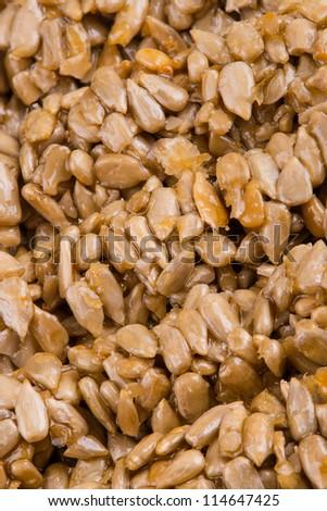 sunflower seeds with honey - stock photo