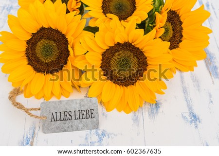Free photos alles gute zum geburtstag happy birthday in german card sunflowers bouquet beautiful yellow flowers with german text alles liebe means love greeting mightylinksfo