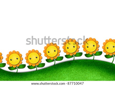 sunflowers cartoon in field-outdoor background. create from recycled paper craft.