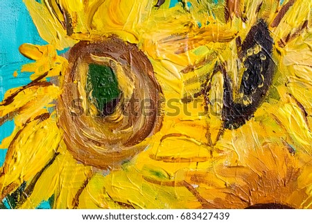 Sunflowers in impressionism style