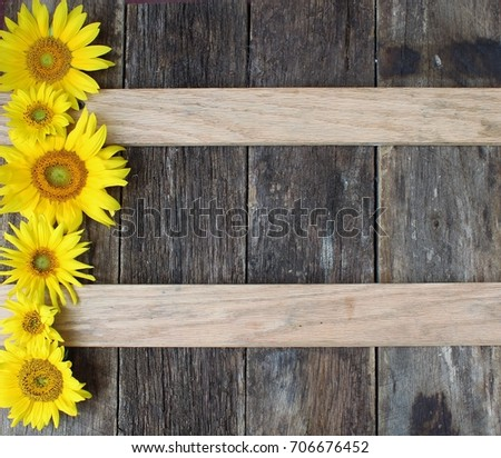 Sunflowers On Rustic Wood Background 706676452